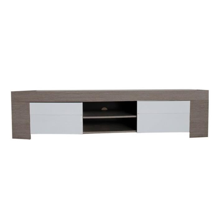 meuble tv laqu blanc et ch ne gris achat vente meuble tv meuble tv laqu blanc et ch. Black Bedroom Furniture Sets. Home Design Ideas