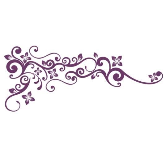 stickers ornement floral design violet achat vente stickers cdiscount. Black Bedroom Furniture Sets. Home Design Ideas