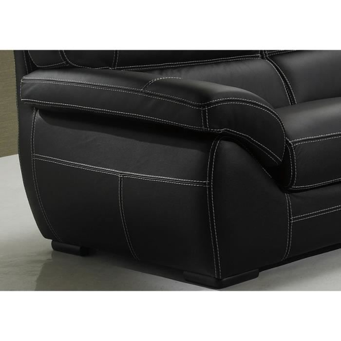 canap cuir siena 2 et ou 3 places cuir noir achat vente canap sofa divan cuir. Black Bedroom Furniture Sets. Home Design Ideas