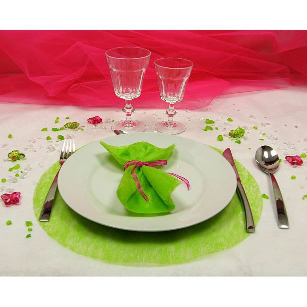 4 sets de table rond intiss vert anis achat vente for Sets de table rigides