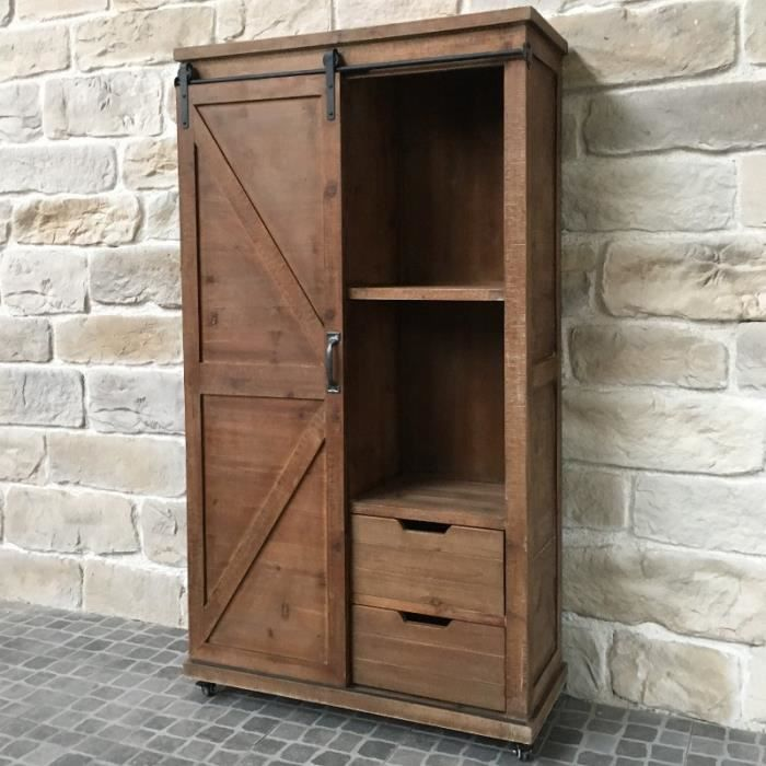 meuble armoire bahut à tiroirs bois fer style industriel
