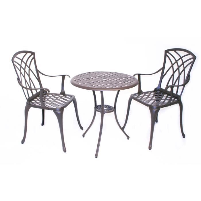 Bentley garden - lot de 2 chaises et 1 table - style bistro - aluminium  moulé