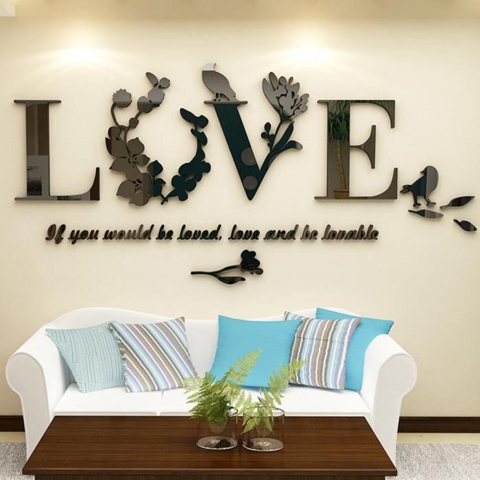 Sticker mural home decor, Stickers muraux salon amovibles, Stickers chambre  adulte, Stickers muraux miroir salon [Love NOIR]