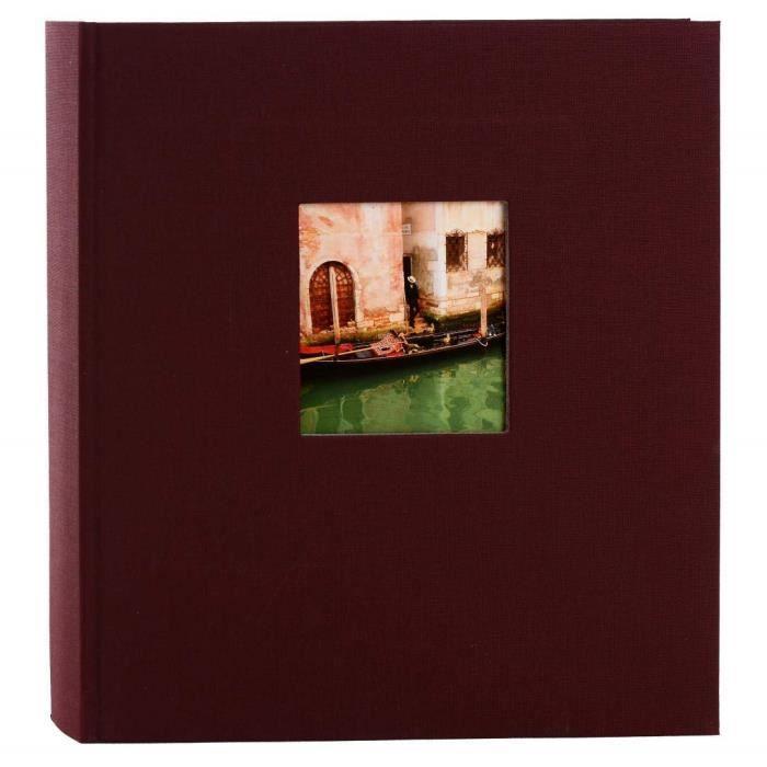 24892 Goldbuch Album Photo avec D/écoupe Lin Bella Vista 60 Pages Blanches avec Intercalaires Glassine Bordeaux 25 X 25 Cm