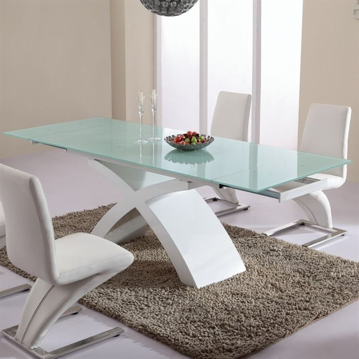 table de salle manger en verre blanc matrix achat. Black Bedroom Furniture Sets. Home Design Ideas