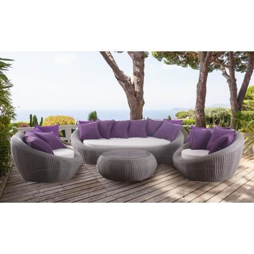 Salon Java 4 Pieces Aspect Rotin Gris Achat Vente Salon De Jardin Salon Java Aspect Rotin