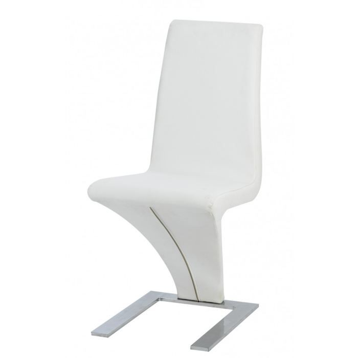 Chaise design blanche am lie lot de 2 id 39 clik achat vente chaise - Chaises blanches design ...