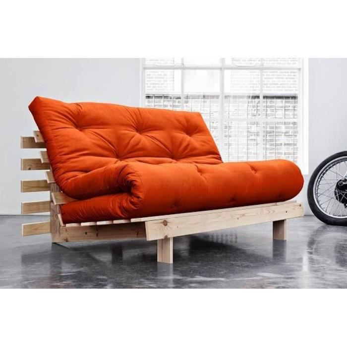 canap convertible style scandinave roots futon orange couchage 140 200cm achat vente clic. Black Bedroom Furniture Sets. Home Design Ideas