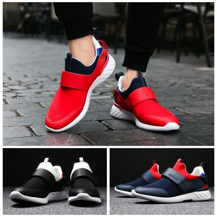Toe Round Sneakers Skateshoes Shoesantiusure Homme Casual taille9 Velcro rouge RSwnxq6I