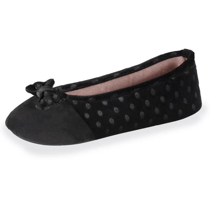 CHAUSSON - PANTOUFLE Chaussons femme Well plumetis - Noir - 91018-AAG-C