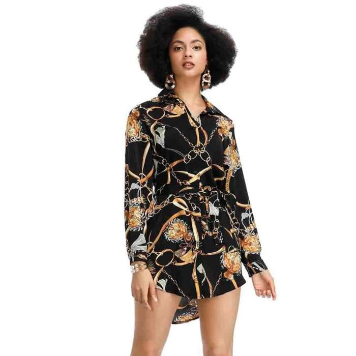 Robe Africaine Blouse Sexy Chaine Imprime Tunique Ethnique Tribal Mini Chemise Robes A Manches Longues Femmes Type Robe Africaine Blanc Achat Vente Robe Cdiscount