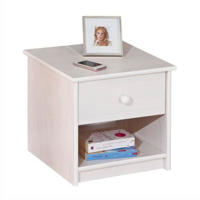 paris prix table de chevet korey 42cm blanc achat. Black Bedroom Furniture Sets. Home Design Ideas