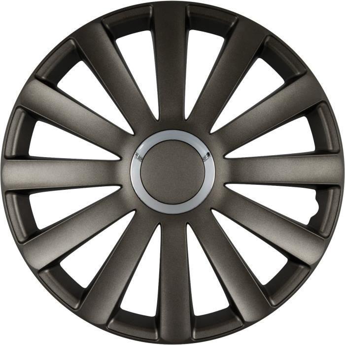 Lot de 4 enjoliveurs de roues 15 pouces SILVERSTONE argent look Audi