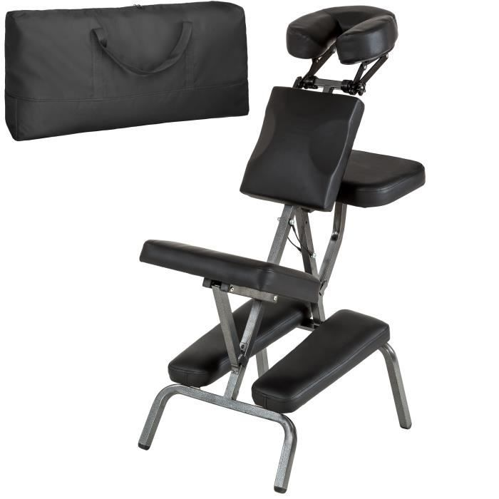TECTAKE Chaise De Massage Traitement Rembourrage Epais Sac Transport Noir