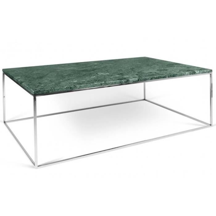 Table Basse Rectangulaire Gleam 120 Plateau En Marbre Vert Structure