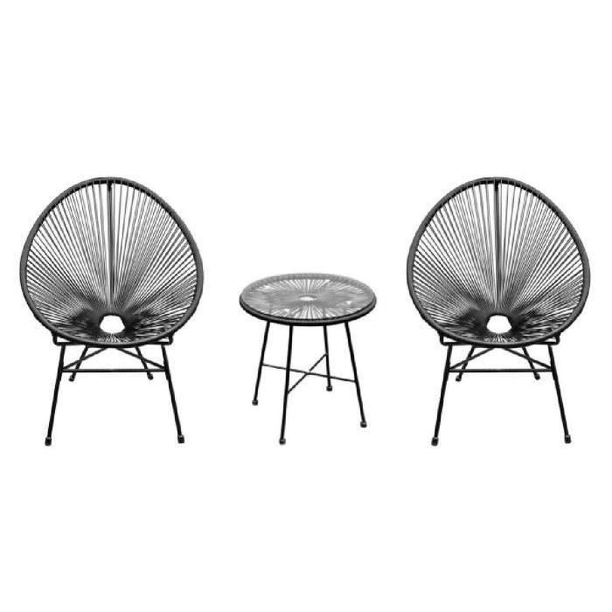 Ensemble salon de jardin design néo-rétro Acapulco 2 fauteuils et table  basse cordage PVC verre trempé noir neuf 11BK