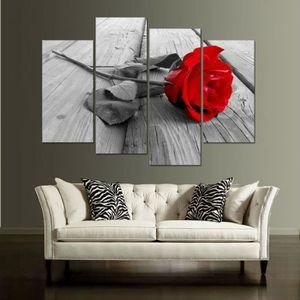 OBJET DÉCORATION MURALE 4 pièces toile rouge toile de couleur murale Art D