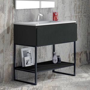 SALLE DE BAIN COMPLETE Meuble salle de bain noir 80 cm 1 tiroir + vasque