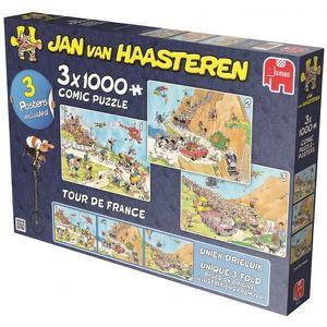 PUZZLE 3X 1000 PIECES COMIC PUZZLE TOUR DE FRANCE - PUZZL