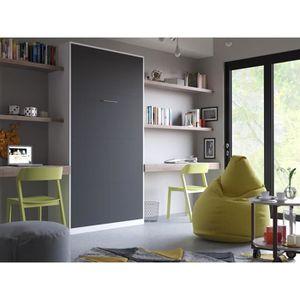 LIT ESCAMOTABLE SMARTBett Basic 90x200 verticale blanc/anthracite
