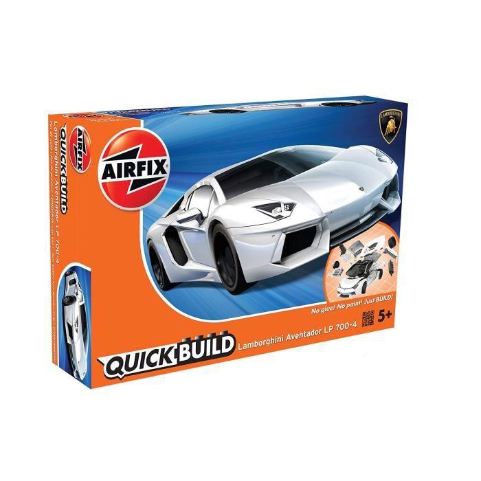 Airfix Quick Build Kit de construction pour véhicule en plastique Lamborghini Aventador, blanc