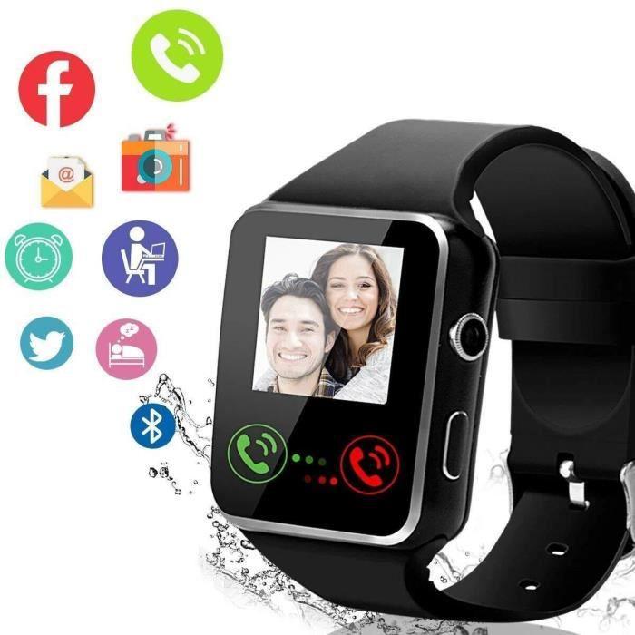 Montre Connectée Intelligente IP68 Etanche Smartwatch Sport Bluetooth Écran tactile Tracker -FR