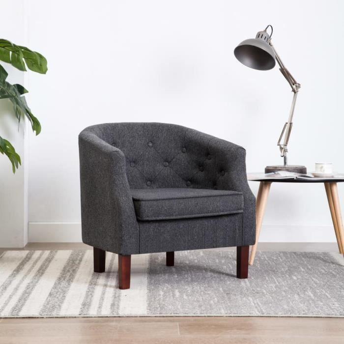 LAY Fauteuil en Tissu Gris Foncé Chaise Meuble Salon Maison,65 x 64 x 65 cm-Style d'intérieur industriel