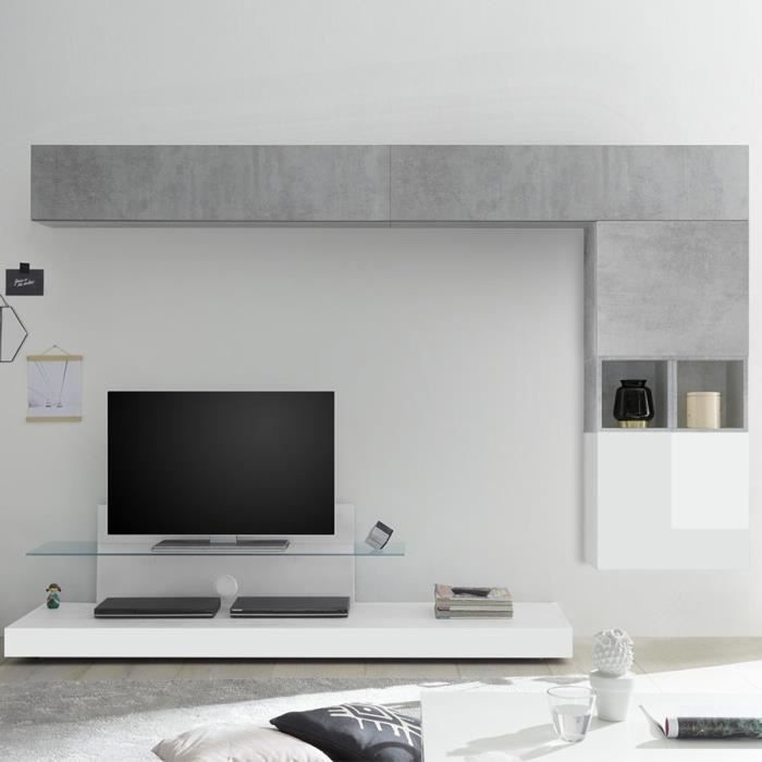 Ensemble meuble TV blanc laqué et gris LUCANO Blanc L 275 x P 50 x H 190 cm