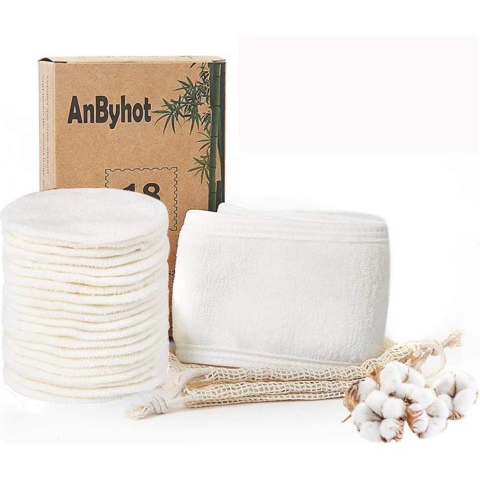 Lingettes et accessoires Disques Coton Demaquillant Lavable - Zodight Tampons Démaquillants En Bambou Bio Réutilisables 666545