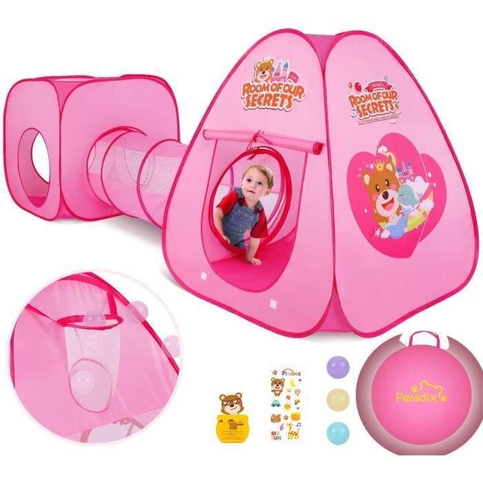 3 en 1 pop-up tente avec tunnel pour enfant,tunnel de jeu pour enfants,cabane jeu tunnel pliable intérieure extérieure,cadeaux tente