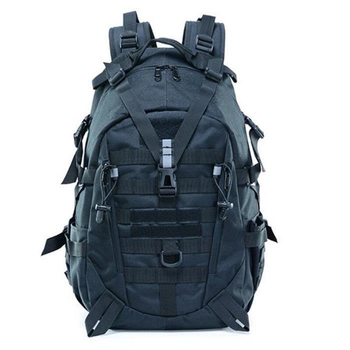 Black 30 - 40L -Grand sac à dos de Camping militaire pour hommes, sacoche de voyage tactique Molle pour escalade randonnée en plein