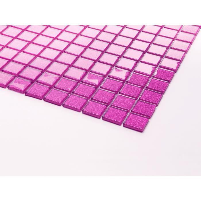 Carrelage mosaïque en verre. Rose Avec des paillettes petit échantillon (MT0018)