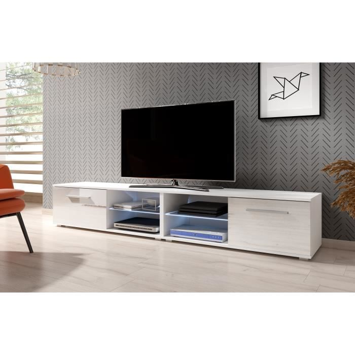 3xeLiving Meuble TV moderniste Punes blanc / blanc brillant 200 cm LED