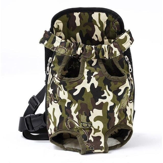 Pettimide sac à dos réglable pour chien Kangourou, sac frontal respirant pour chiens, chiot - Type Camouflage-S
