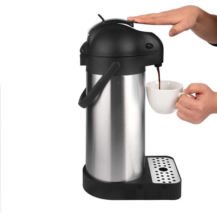 Cresimo Airpot Carafe à café isotherme avec bac d'égouttement et brosse de nettoyage en acier inoxydable 3 l