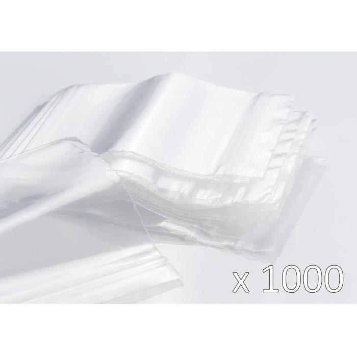 Sachet Plastique Zip Transparent - 70 x 100 mm - 50 µ - Lot de 1000