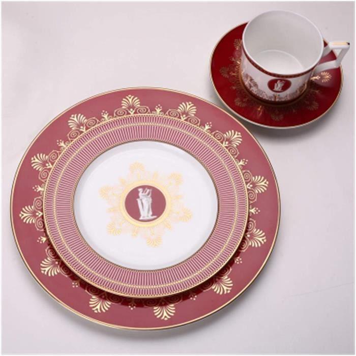 SERVICE A CAFE Assiette de diner Plaque de d&icircner Set Bone China Coffee Coffret Vaisselle Plate Casse Café Coupe Sau876