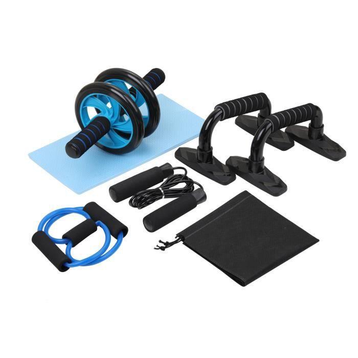 [Yezoos] Appareils de Fitness 5 en 1, Roue abdominale + corde à sauter + barre push-up + corde de traction + genouillère, Kit Comple