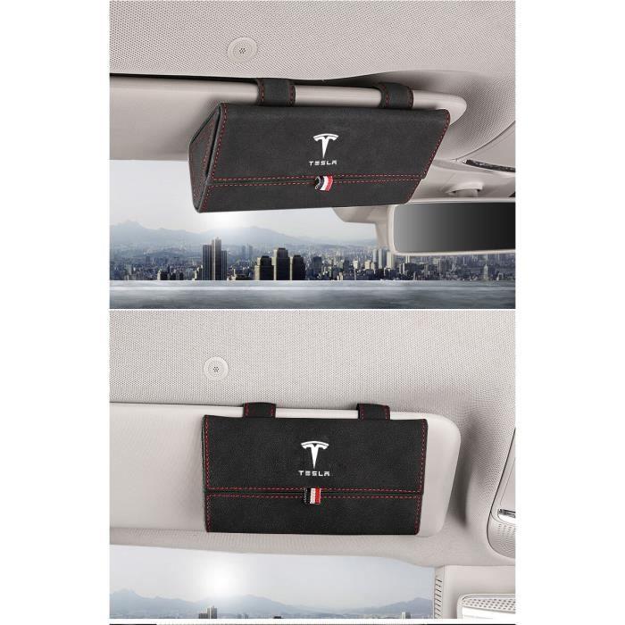 Etui à lunettes,Voiture pare soleil lunettes boîte étui support pince pour Tesla modèle 3 S X Y Anti fourrure cuir - Type Black