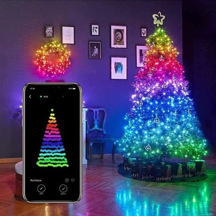 20M USB Mobile Bluetooth LED Guirlande Lumineuse pour Sapin de Noël Décor App Télécommande Décoloration Chaîne D'éclairage