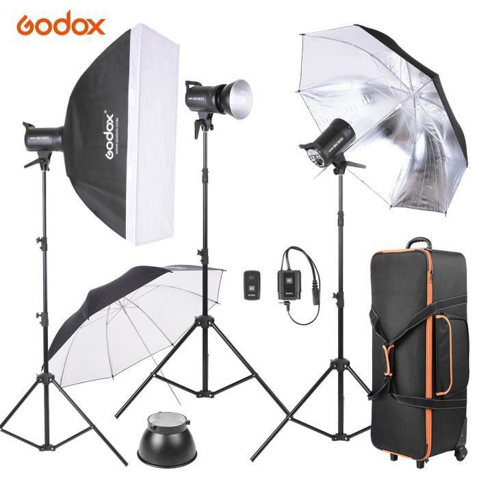 Godox SK300-D Kit 3*300ws Flash Studio Photo+Support/Softbox/Réflecteur Parapluie/Doux Parapluie/Déclencheur Flash/Lamp Shade