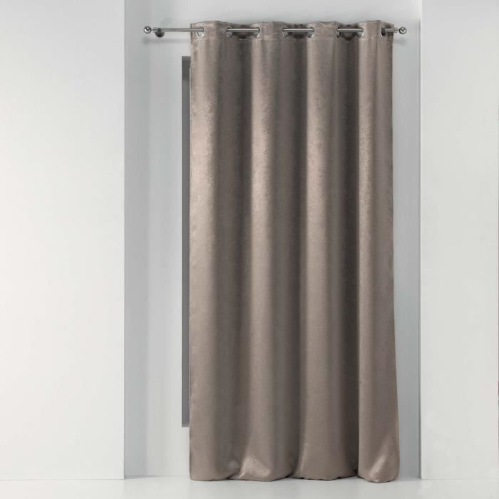Rideau a oeillets 135 x 240 cm occultant marbre marbrea Taupe