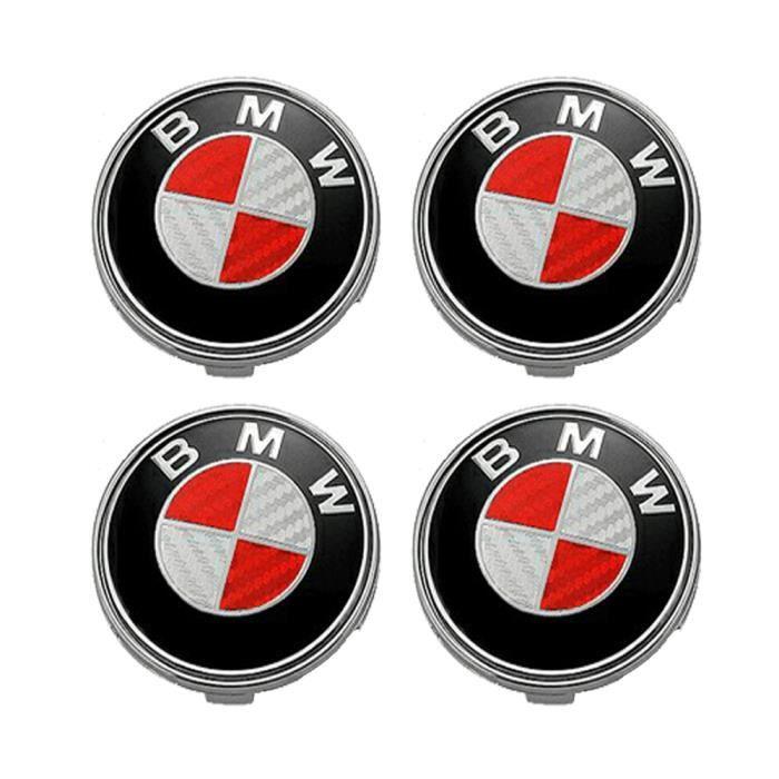 4PCS Logo BMW 68mm Centre De Roue Cache Moyeu Jante Fibre de carbone rouge gris insigne
