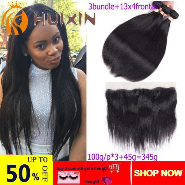 3 lots 141414- vierges cheveux humain brésiliens couleur naturelle 100g-lot avce 13x4 lace frontal 12pouces