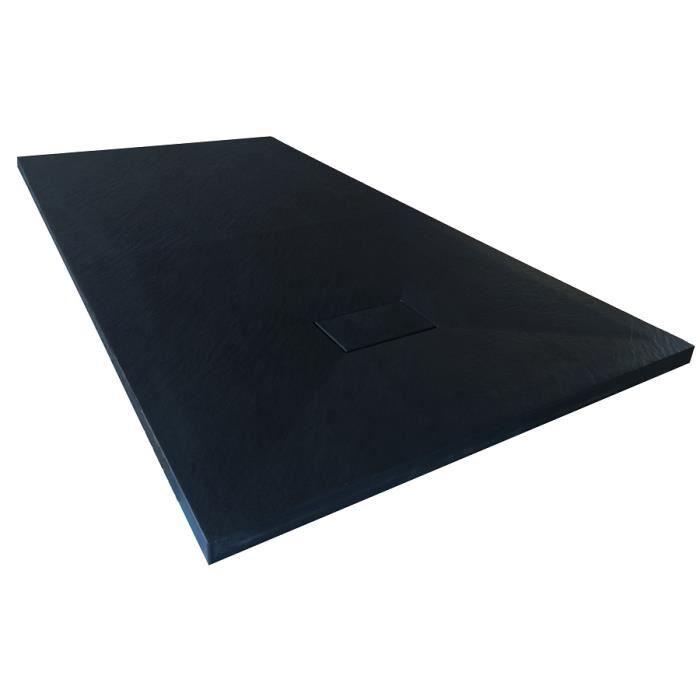 Receveur de douche extra plat PIATTO en SoliCast® 90x90 surface ardoisée, noir Noir