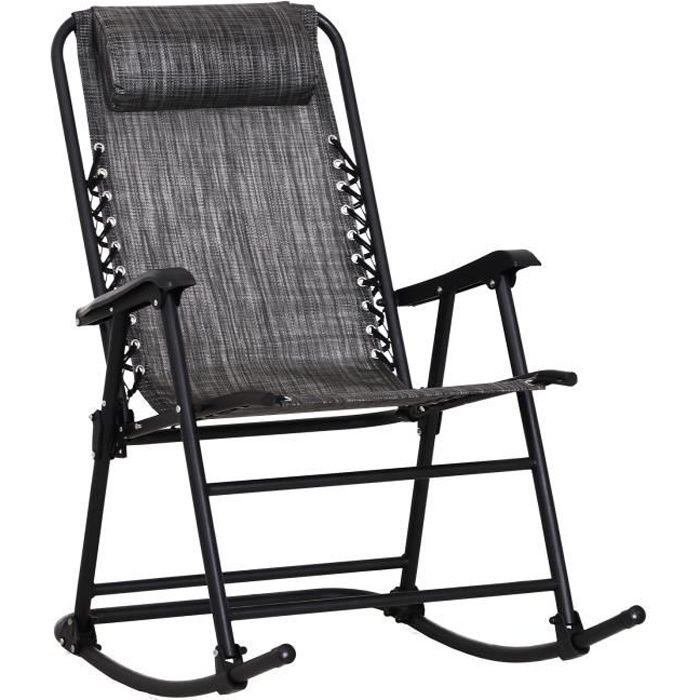 Fauteuil à bascule rocking chair pliable de jardin dim. 52L x 50l x 110H cm acier époxy textilène gris chiné 52x50x110cm Gris