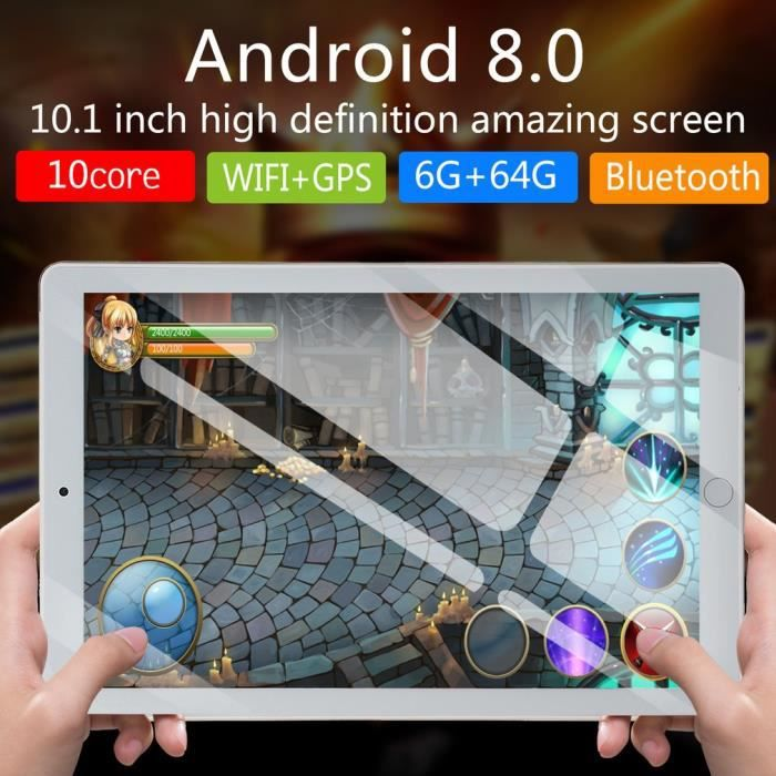 10.1 pouces tablette PC 4G + 64G Android 8.1 suuport double carte rose