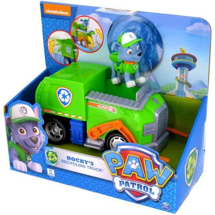 Véhicule Paw Patrol Pat'Patrouille avec figurine : Camion de recyclage et Rocky