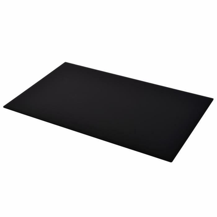 Dessus de table rectangulaire Verre trempé 1000 x 620 mm Noir