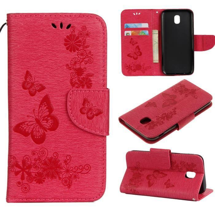 Étui coque Samsung Galaxy J3 (2017)Rouge Motif Retro Fleur Housse ...